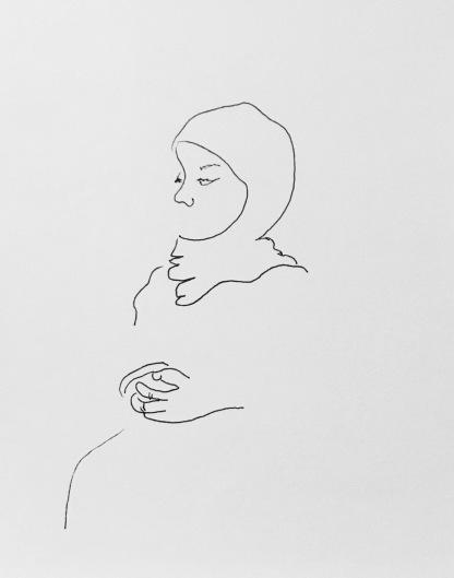 Nursing Student; 2017, Ink on Paper